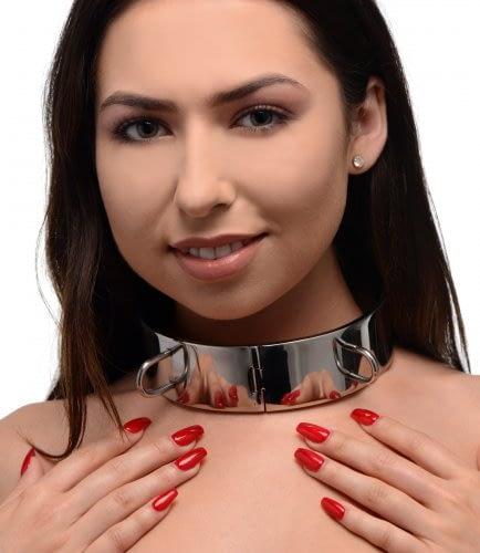 Stainless Steel Locking Bondage Collar With Model Demo
