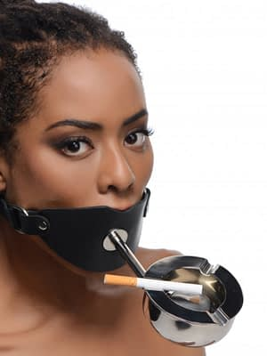Ashtray Ball Gag With Female Model Demo