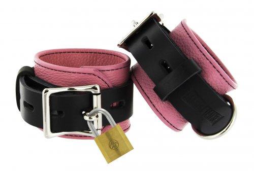 Locking Leather Wrist Cuffs Pink