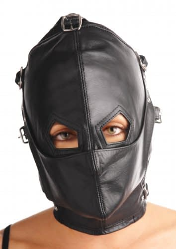 Asylum Leather Hood with Removable Blindfold and Muzzle With Eye Holes