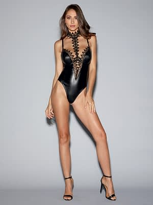 Venice Lace Collared Faux Leather Teddy