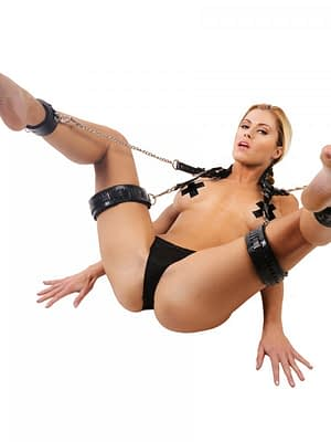 Leather Sling and Cuffs With Model