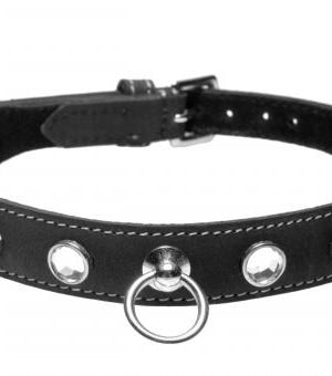 Rhinestone Leather Collar