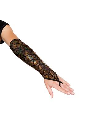 Fingerless Elbow Length Mermaid Gloves Gold
