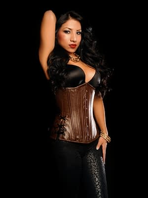Brown Leather Long Corset With Model