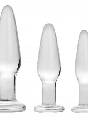 Graduated Sizes Glass Anal Plug Kit