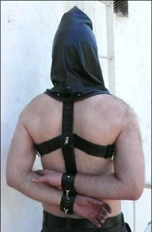 Prisoner Hood With Harness Back View With Model