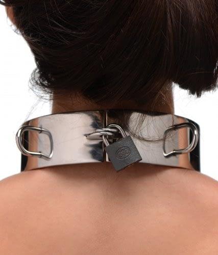 Stainless Steel Locking Bondage Collar With Model Locked