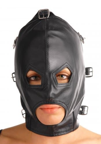 Asylum Leather Hood with Removable Blindfold and Muzzle With Eye And Mouth Holes