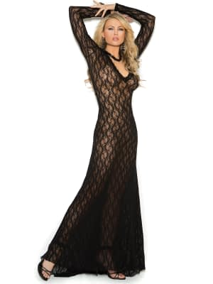 Deep V Lace Gown Black