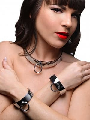Chrome Slave Collar And Cuffs Model
