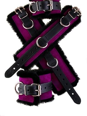 Faux Fir Bondage Cuffs Purple