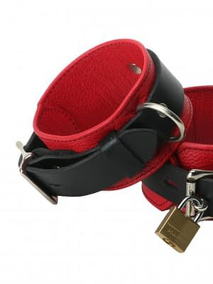 Locking Leather Wrist Cuffs Red Locked
