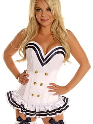 White Navy Officer Overbust Premium Corset Close Up