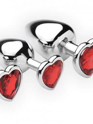 3 Piece Scarlet Heart Jeweled Anal Plug