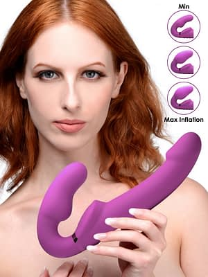 Inflatable Vibrating Strapless Strap-On With Model
