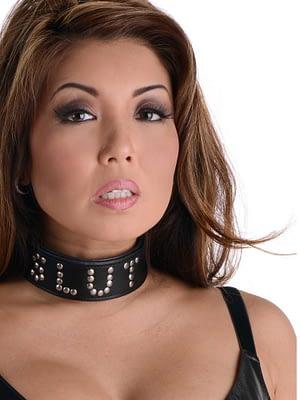 Leather Slut Collar With Model