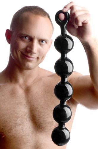 Mega Baller Anal Beads With Model
