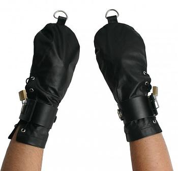 Leather Bondage Mittens Demo