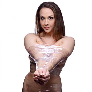 Bondage Tape Clear With Model