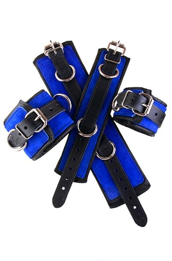 Padded Leather Bondage Cuffs Blue