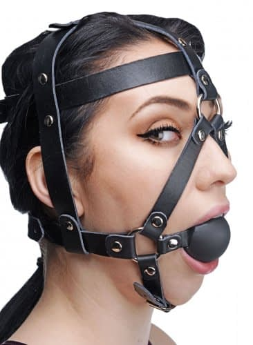 Leather Head Harness with Ball Gag Side View