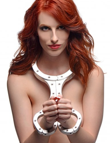 Metal Bondage Fiddle Female Model Front View