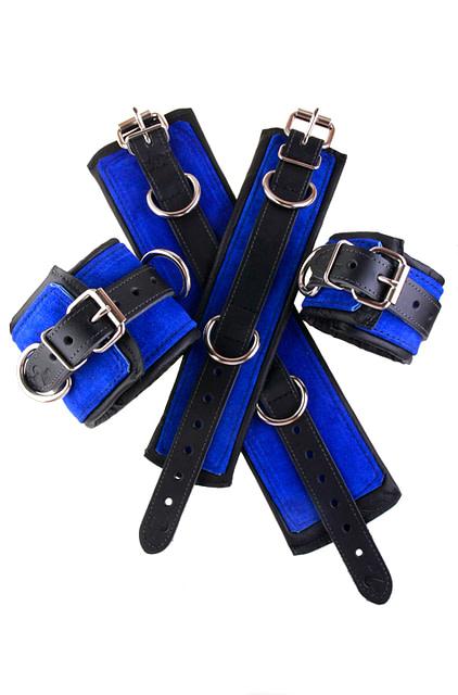 Padded Leather Bondage Cuffs Blue
