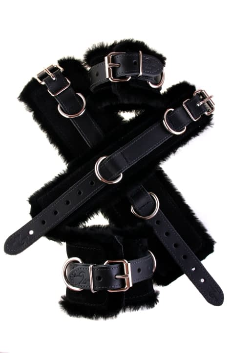 Faux Fir Bondage Cuffs Black