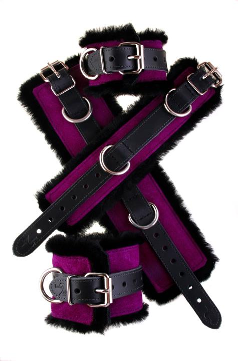 Faux Fir Bondage Cuffs Purple