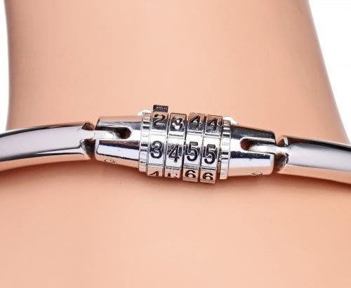Combination Locking Slave Collar Close Up Of Lock