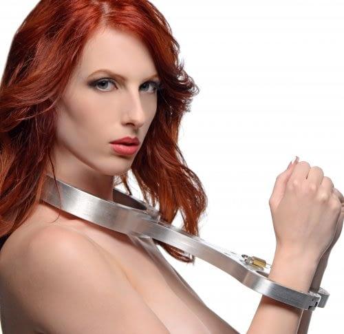 Metal Bondage Fiddle Female Model Side View