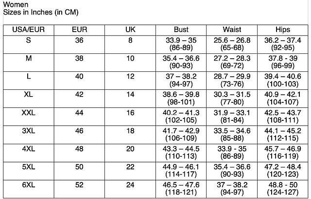 BTANHM Size Chart