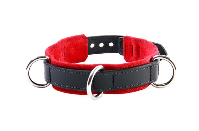 3-D Ring Leather Slave Collar Red