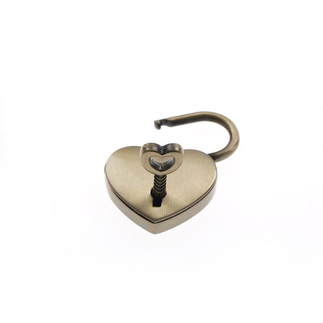 Antique Brass Heart Shaped PadLock Unlocked
