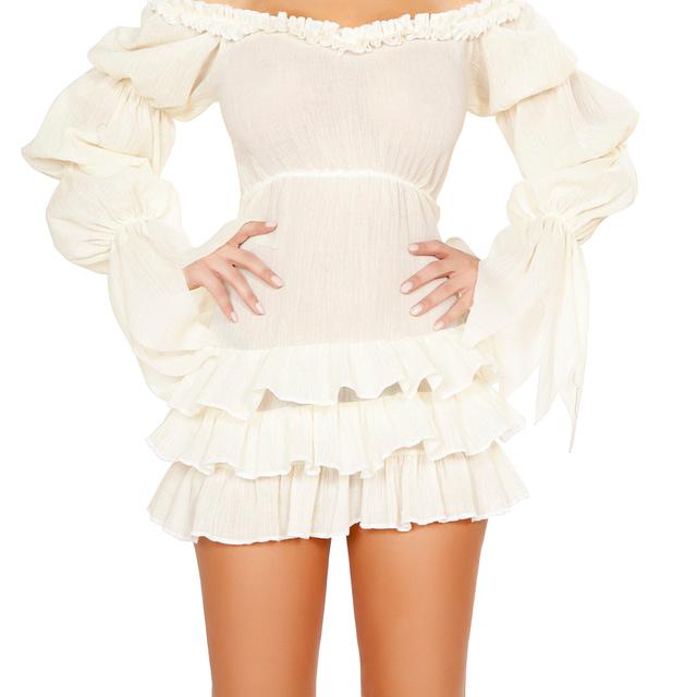 Ruffled Pirate Dress White