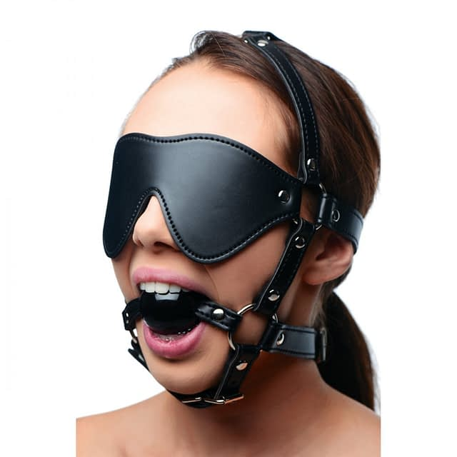 Blindfold Harness and Ball Gag With Model
