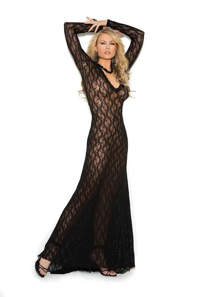 Deep V Lace Gown Black