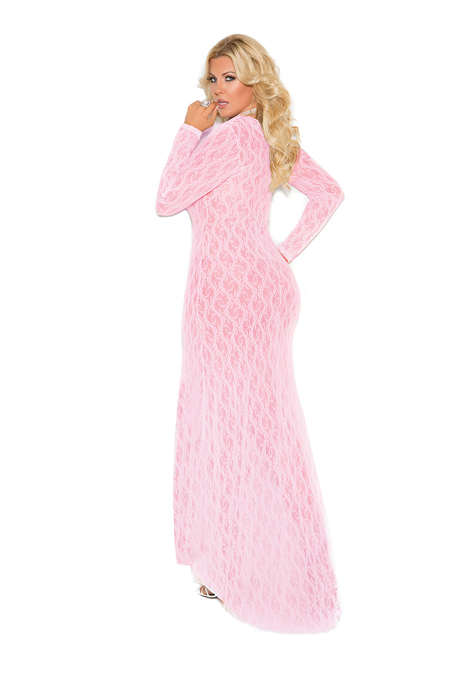 Deep V Lace Gown X Pink Back
