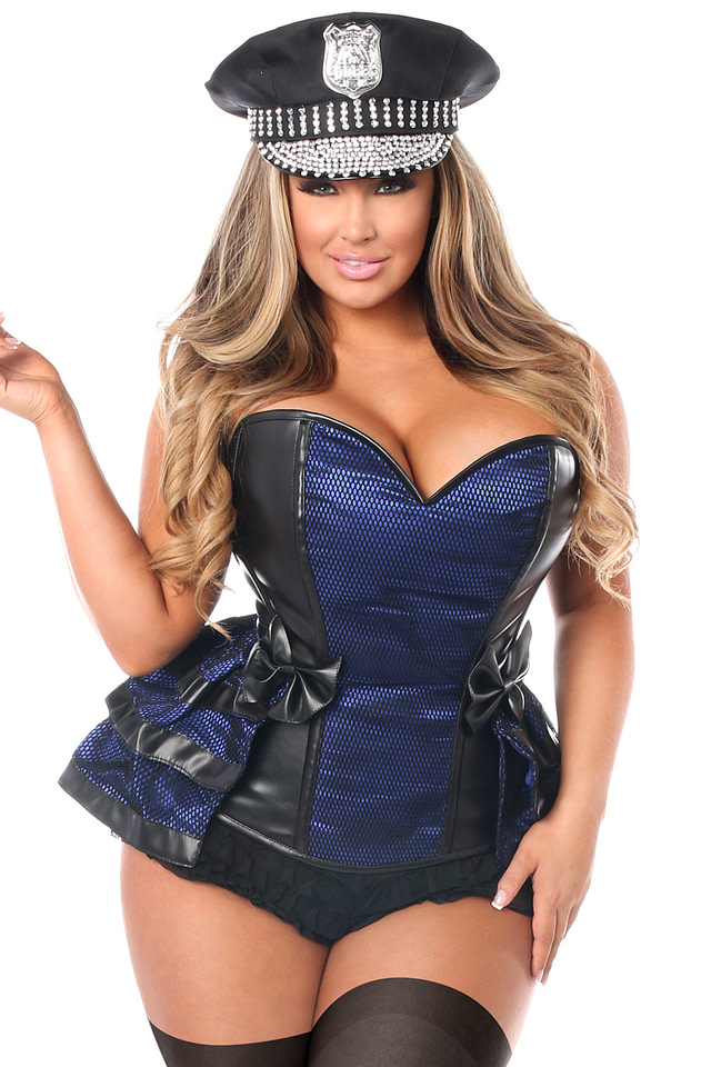 Officer Kinky Corset Costume Close Up