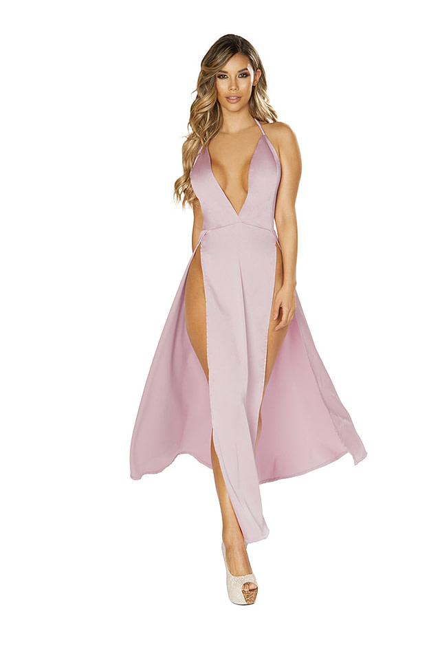 Sensual Satin Pink Maxi Dress