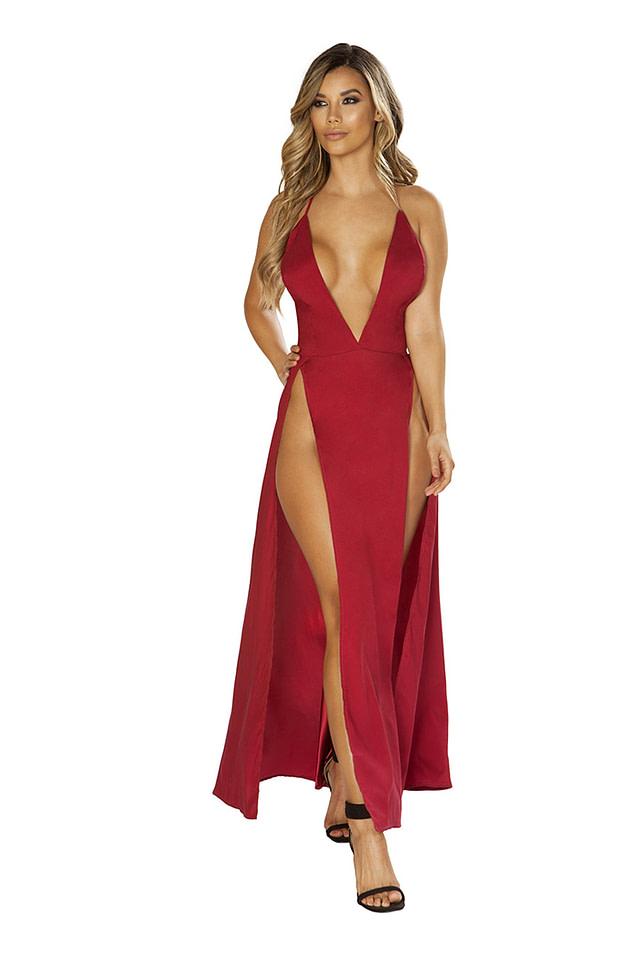 Sensual Satin Red Maxi Dress