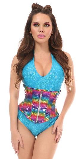 Glitter Rainbow Mid Under Bust Corset
