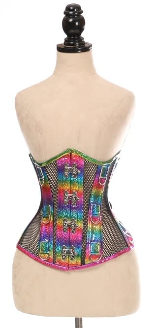 Rainbow & Black Fishnet Under Bust Corset