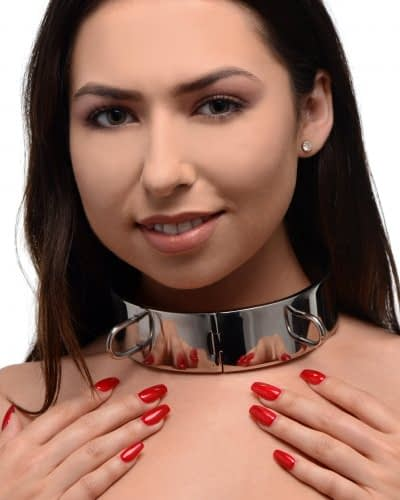 Stainless Steel Locking Bondage Collar With Model Demo