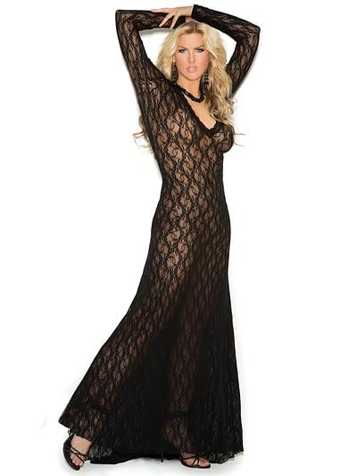 Deep V Lace Gown X Black