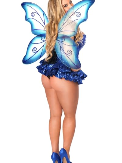 Sequin Fairy Premium Corset Costume Blue Back