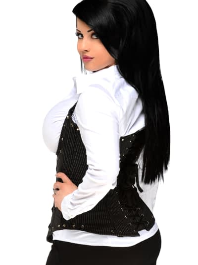 Pinstripe Underbust Steel Boned Corset Queen Back