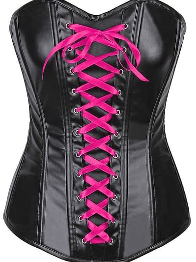 Wet Look Faux Leather Pink Laced Over Bust Corset Pink