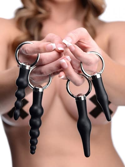 Ringed Anal Stimulation Set With Female Model